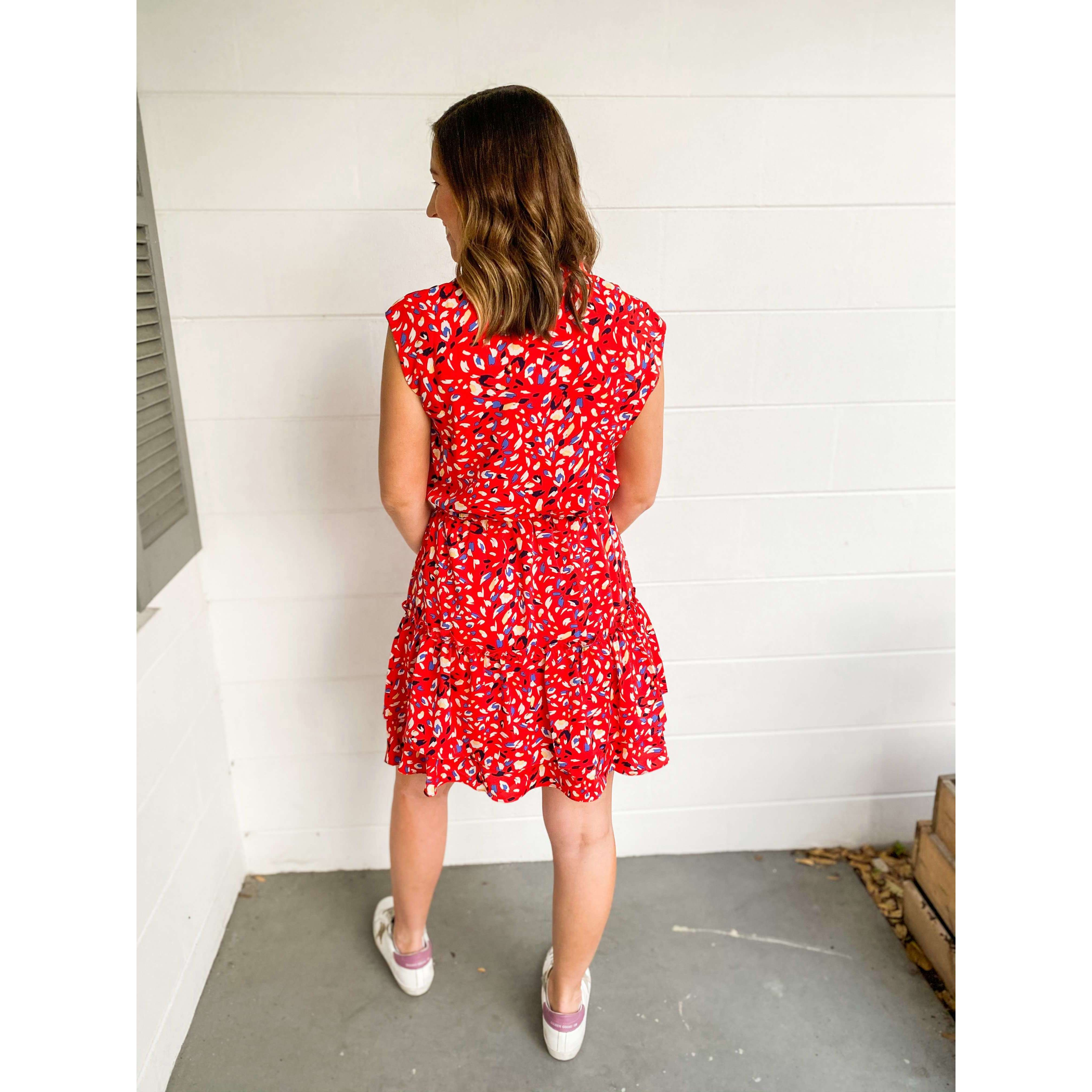 8.28 Boutique:Joy*Joy,Joy*Joy Red Brush Flare Hem dress,Dress