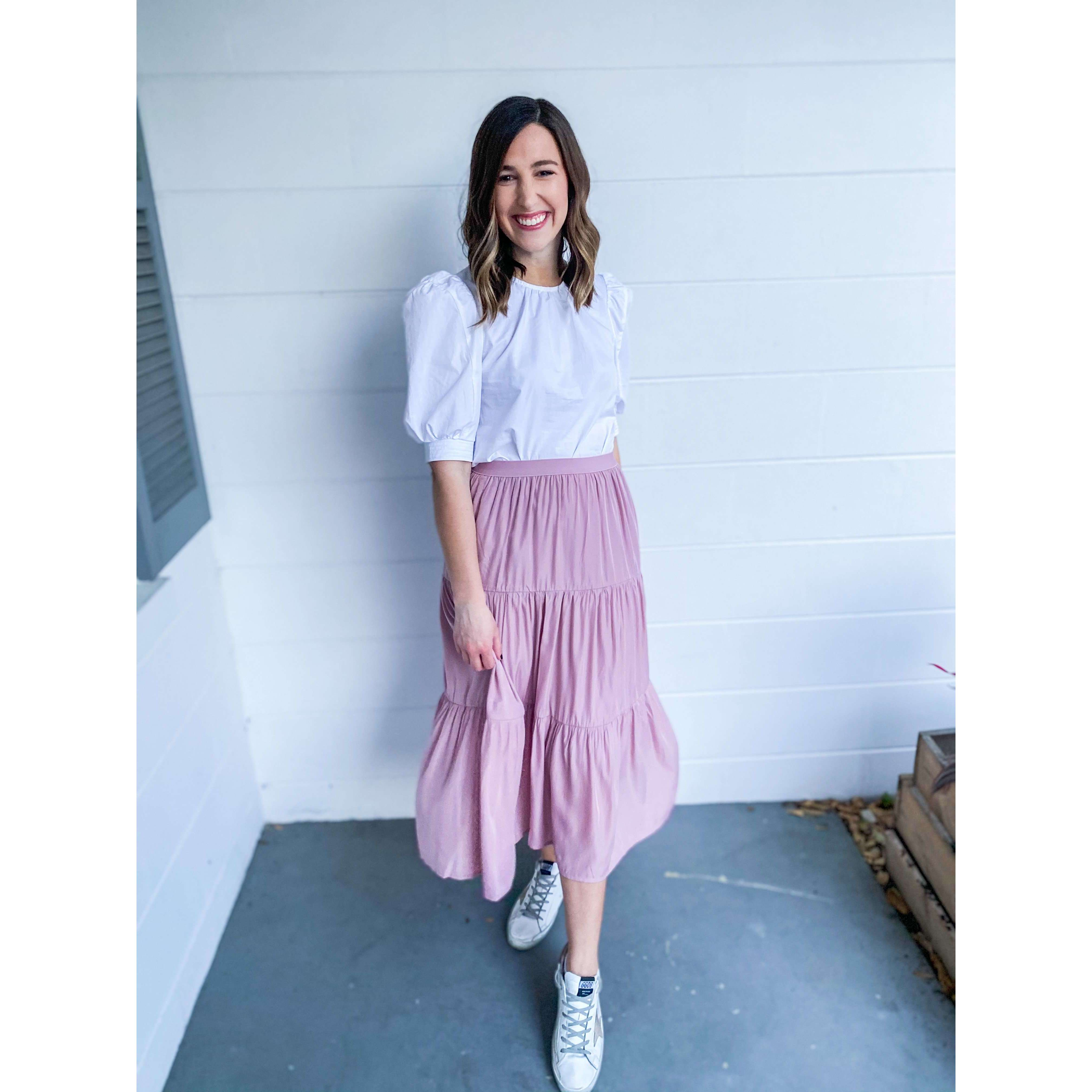8.28 Boutique:Joy*Joy,Joy*Joy Tiered Midi Skirt in Blush,Bottoms