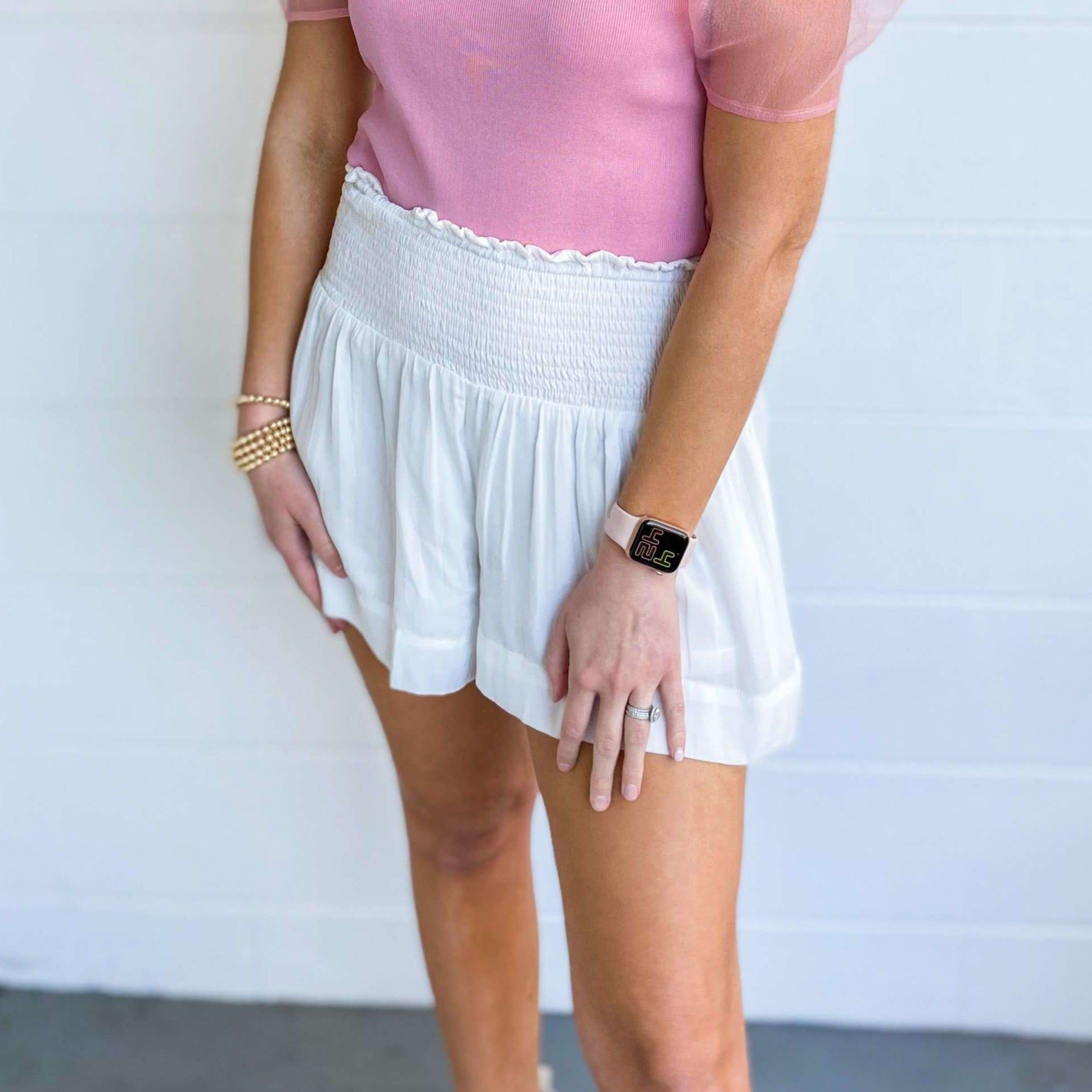 8.28 Boutique:8.28 Boutique,Just in Time Smocked Waist Shorts,Bottoms
