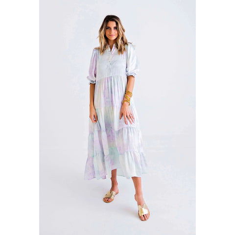 Jade by Melody Tam Brown Brush Pleated Midi Dress