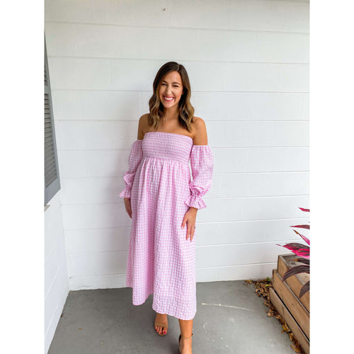 8.28 Boutique:Moodie,Moodie Off The Shoulder Pink Gingham Midi Dress,Dress