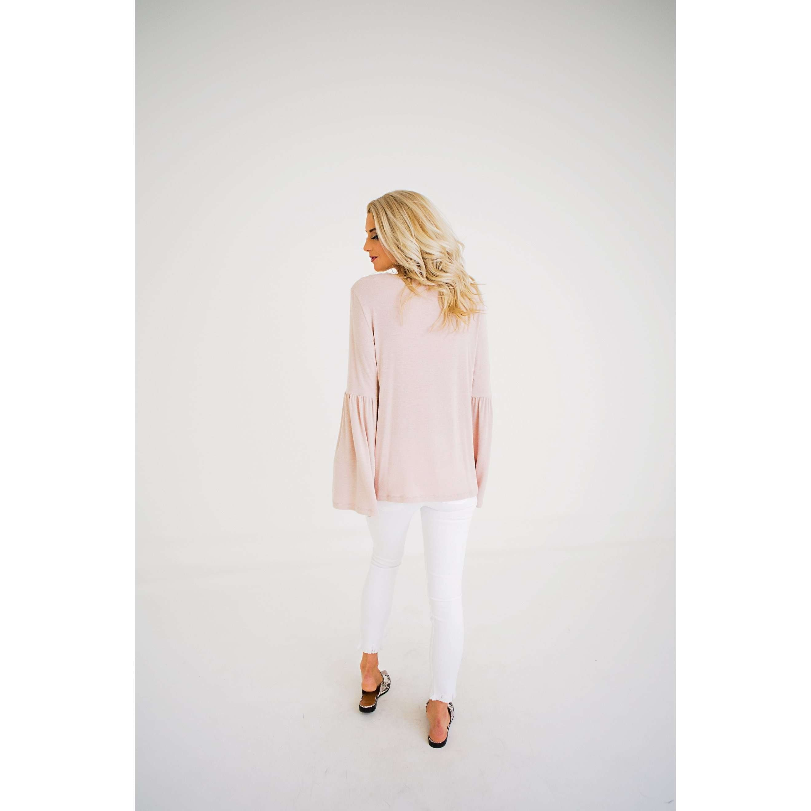 8.28 Boutique:Karlie Clothes,Karlie Clothes Blush Bell Sleeve Sweater,Tops