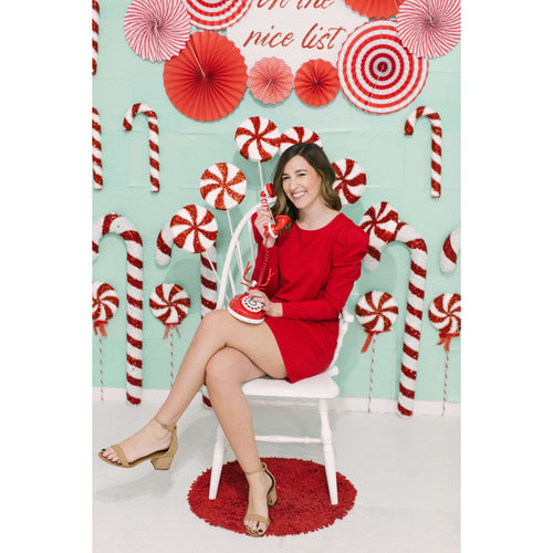 8.28 Boutique:BB Dakota,BB Dakota Candy Cane Red Puff Sleeve Dress,Dress
