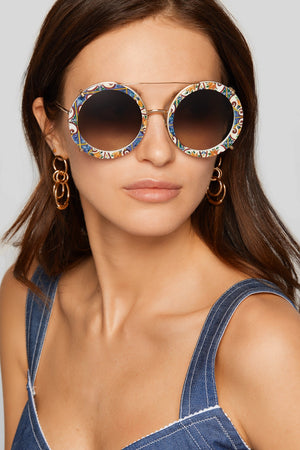 D&G Round Frame printed gold tone