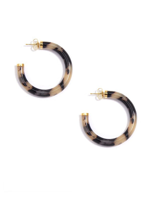 Tortoise Hoop Earring - Black/tan