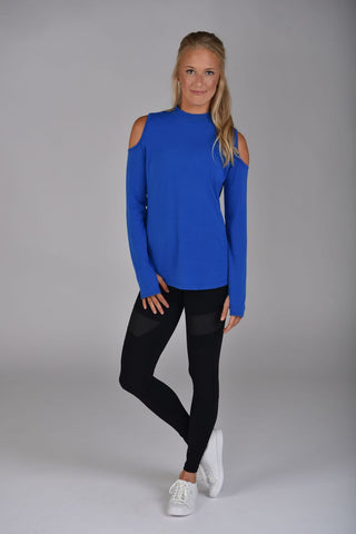 Cold Shoulder Long Sleeve Cobalt