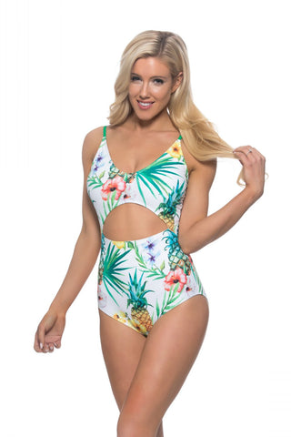 Tropical One-Piece Swimsuit with Cutout
