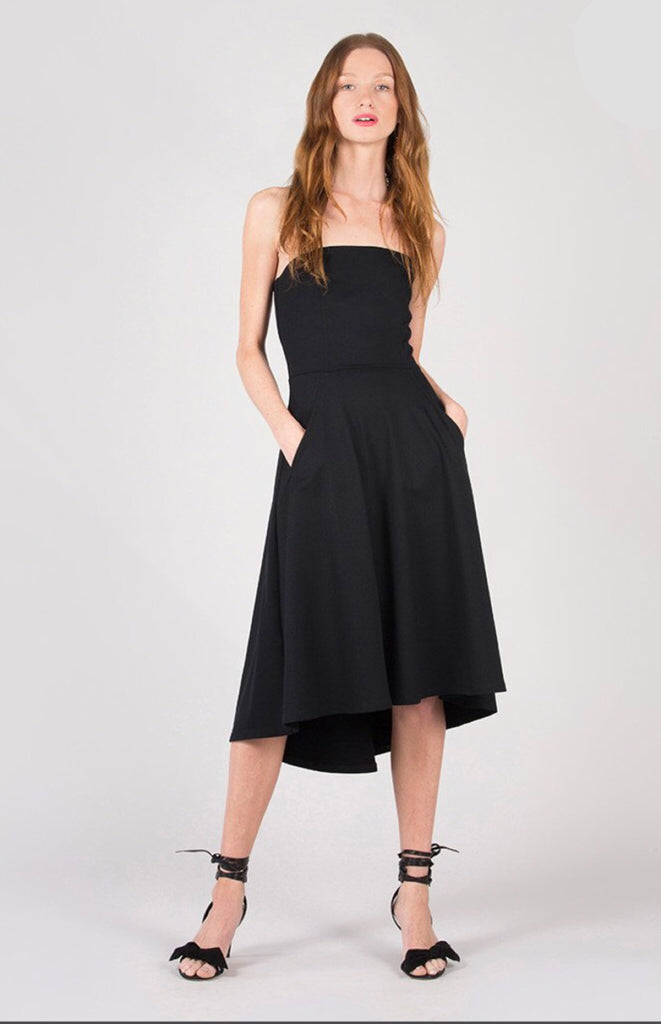 Strapless Fit And Flare Midi Dress Onon Clothing