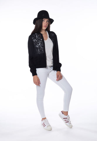Bomber Jacket with Lace Insert