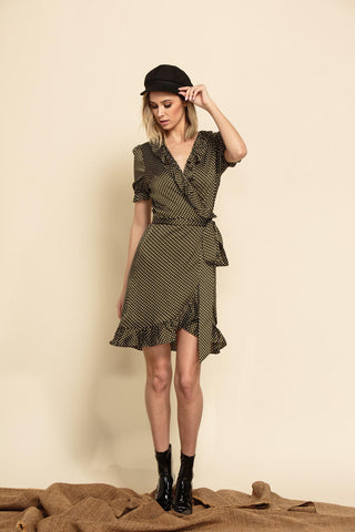 Florence Polka Dot Wrap Mini Dress