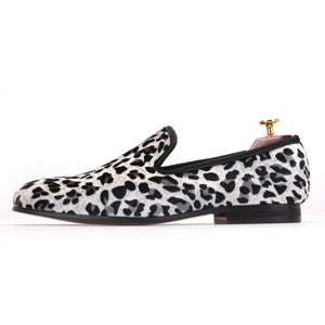 Men OneDrop Leopard Cotton Fabric Shoes Smoking Slippers Party Wedding Prom Loafers