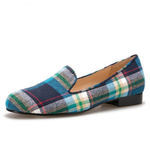 OneDrop Handmade Gingham Women Dress Shoes Summer Ballet Slip On Loafers