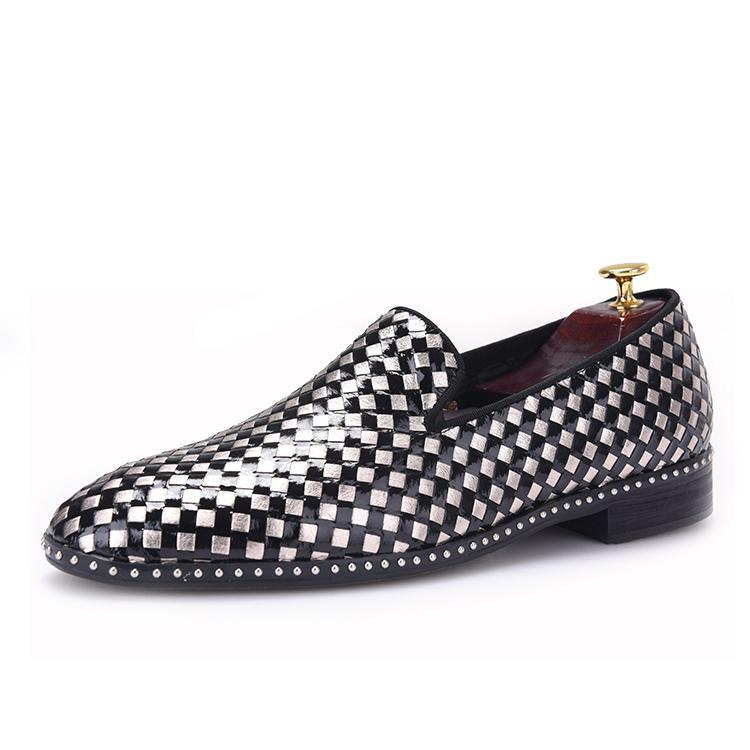 OneDrop Handmade Men Weaving Dress Shoes Patent Leather Banquet Party Wedding Prom Loafers