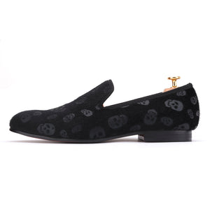 OneDrop Handmade Horsehair Skull Embossed Velvet Men Party Wedding Prom Loafers