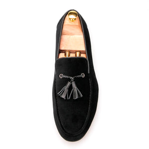 OneDrop Handmade Cotton Men Dress Shoes Leather Tassels Wedding Party Prom Loafers