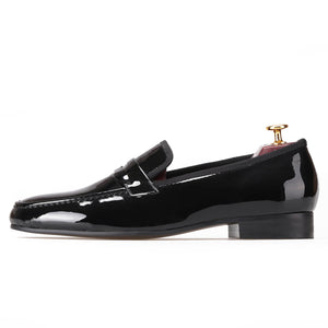 OneDrop Black Patent Leather Handmade Men Party Wedding Banquet Prom Loafers