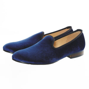 Journey West Men's Blue Plain Velvet Loafers Prom Party Men's Flats
