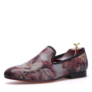 OneDrop Handmade Flower Pattern Men Dress Shoes Red Bottom Party Wedding Prom Loafers