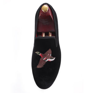OneDrop Handmade Bird Embroidery Men Velvet Party Wedding Prom Loafers