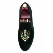 OneDrop Handmade Shield Embroidered Men Dress Shoes Velvet Wedding Party Prom Loafers