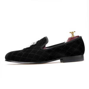 OneDrop Handmade Men Dress Shoes Stitching Plaid Velvet Embroidery Party Wedding Prom Loafers