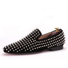 OneDrop Handmade Men Black Nubuck Leather Dress Shoes Silver Rivet Wedding Party Prom Loafers