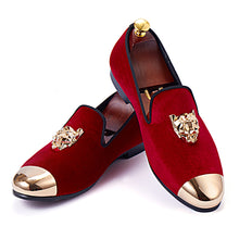 Harpelunde Animal Buckle Men Wedding Red Velvet Gold Cap Toe Loafers