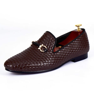 Harpelunde Men Handmade Dress Shoes Buckle Strap Wedding Woven Leather Loafers