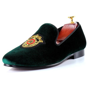 Harpelunde Driving Loafer Shoes Men Green Flats Badge Velvet Slippers