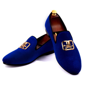 Harpelunde Men Blue Velvet Loafers Skull Buckle Dress Shoes