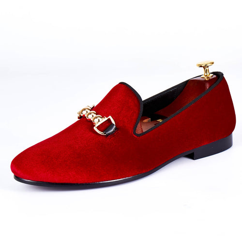 Harpelunde Formal Buckle Strap Wedding Shoes Men Red Velvet Loafers