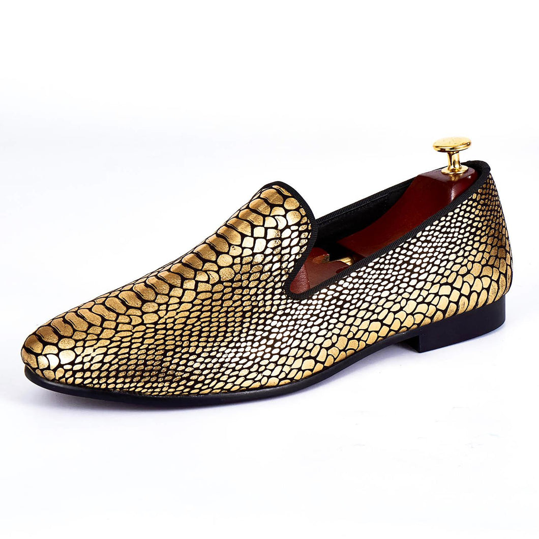 Harpelunde Gold Paisley Printed Men Shoe Fashion Velvet Loafer Handmade