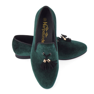 Harpelunde Men Shoes Green Slip-On Velvet Loafers