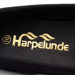 Harpelunde Men Buckle Shoes Black Velvet Loafers Metal Hoop Flat Shoes