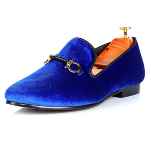 Harpelunde Men Buckle Shoes Velvet Loafers Handmade Smoking Slippers
