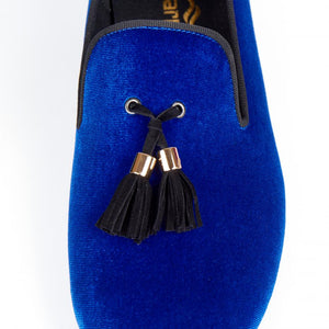 Harpelunde Men Handmade Dress Shoes Slip On Wedding Tassel Blue Velvet Loafers