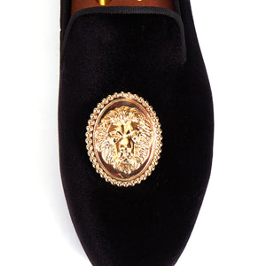 Harpelunde Men Dress Shoe Lion Buckle Velvet Slipper Handmade Loafer