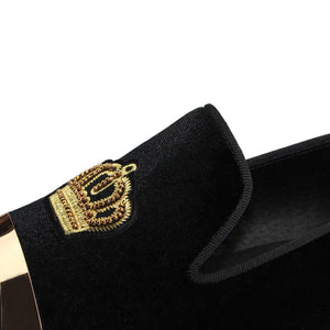Harpelunde Men Dress Wedding Shoes Bullion Black Velvet Loafers With Gold Plate
