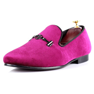 Harpelunde Men Formal Shoes Horsebit Wedding Burgundy Velvet Loafers