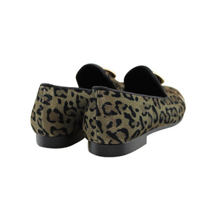 Harpelunde Men Handmade Leopard Prints Formal Dress Shoes Lion Buckle Velvet Loafer Metal Strap