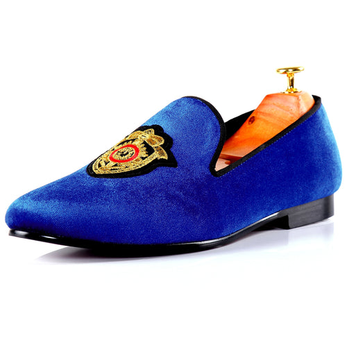 Harpelunde Men Loafers Embroidery Velvet Slippers Blue Flat Shoes