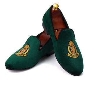 Harpelunde Men Moccasins Embroidered Velvet Loafers Smoking Slippers
