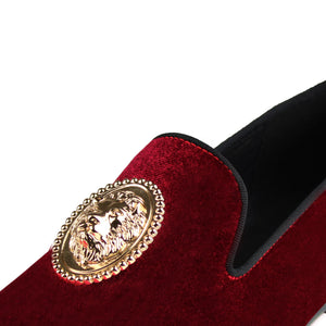 Harpelunde Men Handmade Red Dress Wedding Shoes Lion Buckle Velvet Copper Cap Toe Loafer