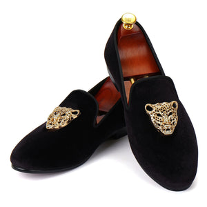 Harpelunde Men Velvet Loafer Shoes Animal Buckle Black Dress