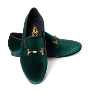 Harpelunde Men Velvet Loafers Green Wedding Buckle Dress Shoes