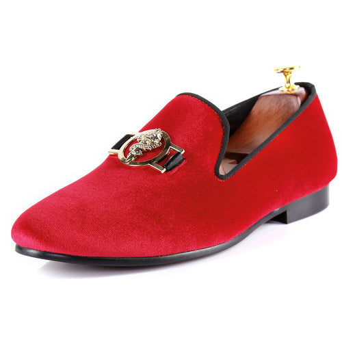 Harpelunde Men Velvet Slippers Buckle Strap Red Driving Loafers