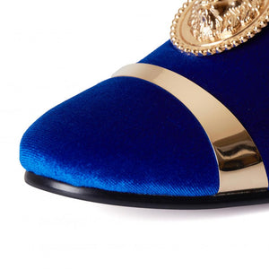 Harpelunde Men Wedding Dress Shoes Velvet Loafer Slippers Gold Plate