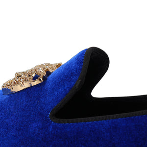 Harpelunde Men Wedding Handmade Velvet Loafer Slippers Animal Buckle