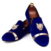 Harpelunde Men Handmade Wedding Velvet Loafers Gold Metal Circle Flat Shoes