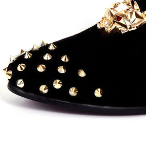 Harpelunde Mens Dress Shoes Rivets Velvet Loafer Animal Buckle Flats